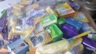 Closeup of cleaning supplies