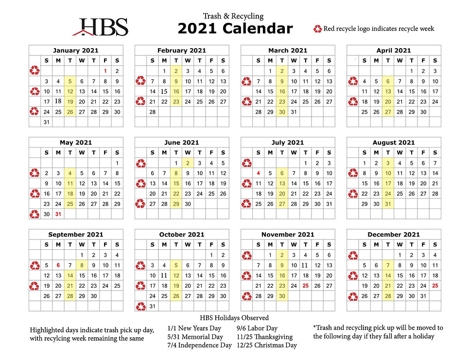 CPN HOA1 2021 Trash + Recycling Calendar
