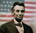 abe lincoln in front of flag