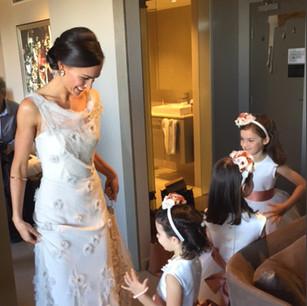 Bridal Low Bun Hair up with Flower girls