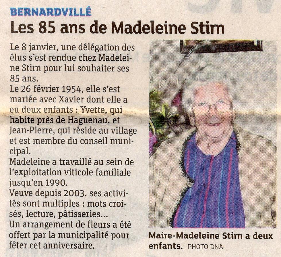 Madeleine Stirn 85 ans 2013 Bernardvillé