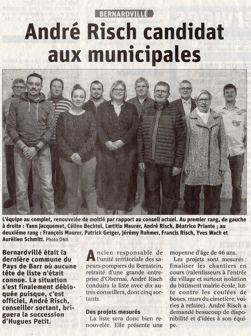 Risch André candidat mairie Bernardvillé