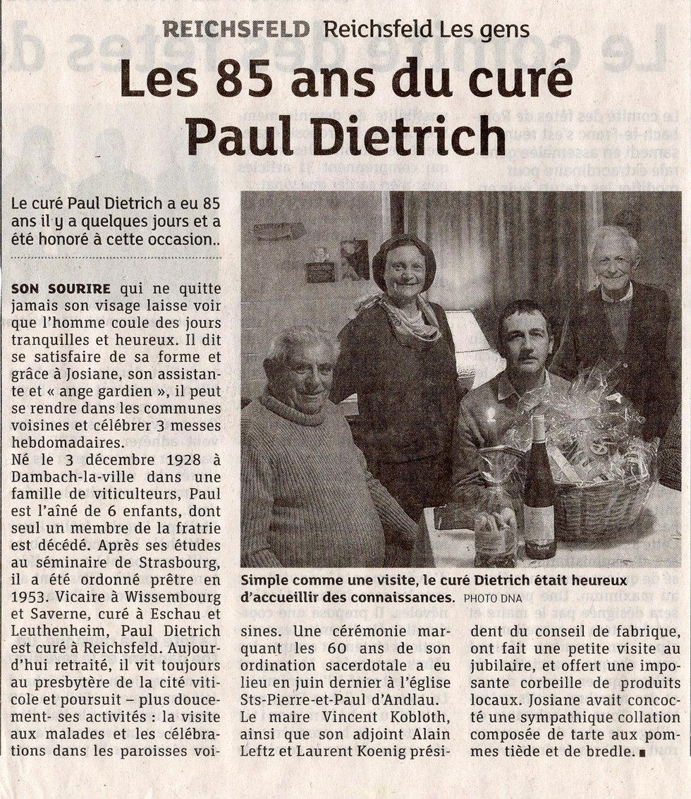 Les 85 ans curé Paul Dietrich Bernardvil
