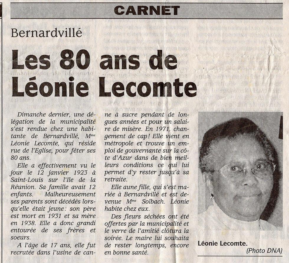 80ans Léonie Lecomte 18 janvier 2003 (Co