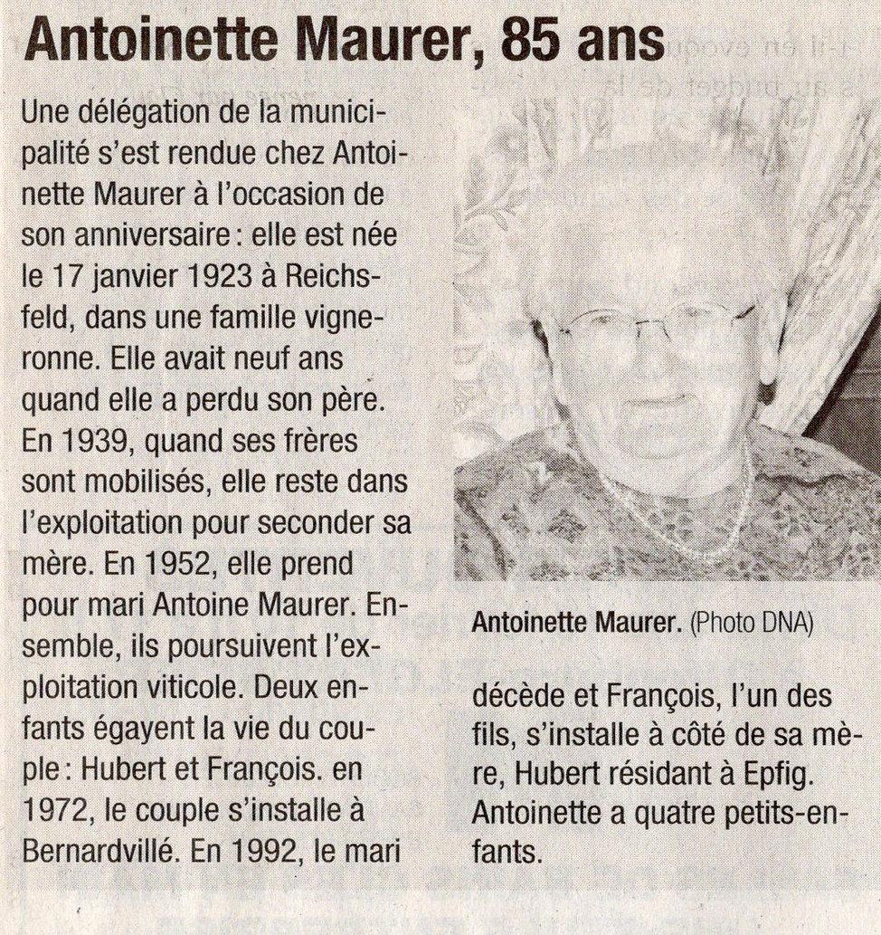 85 ans Antoinette Maurer 2008 Bernardvil