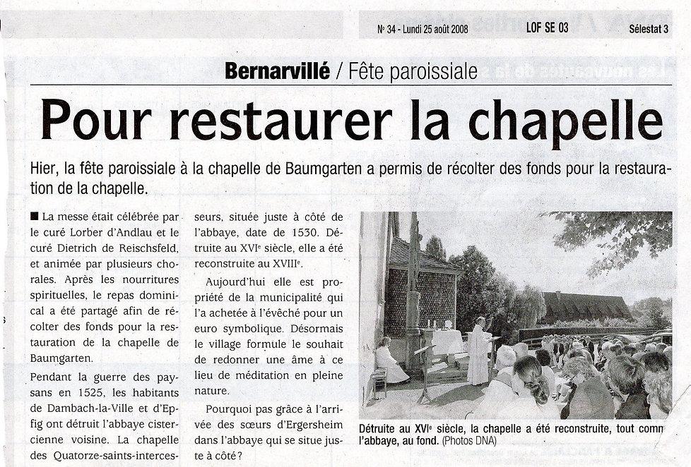 Pour restaure la chapelle de Baumgarten2