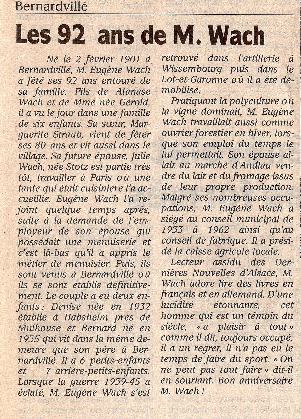 Les 92 ans de M Eugène Wach Bernardvillé