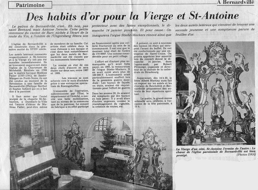Inauguration des Autels 14 janvier 1990