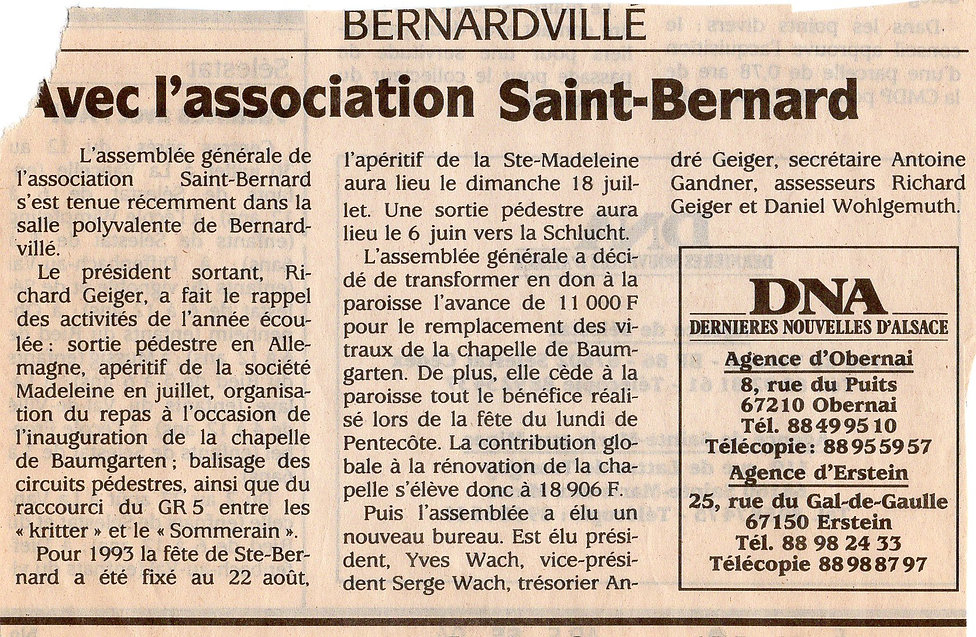 Association saint Bernard Bernardvillé 1