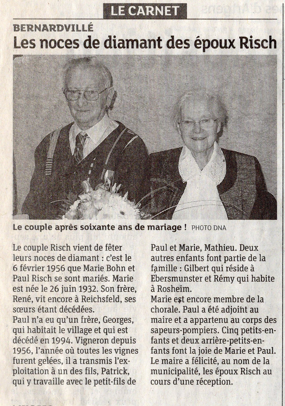 Noces de diamant Marie et Paul Risch Ber