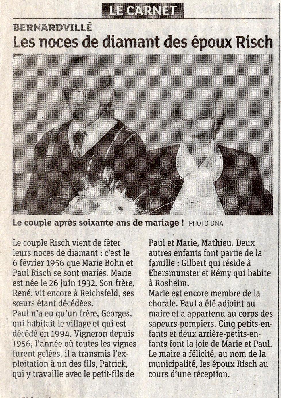 Noces de diamant Marie et Paul Risch Ber