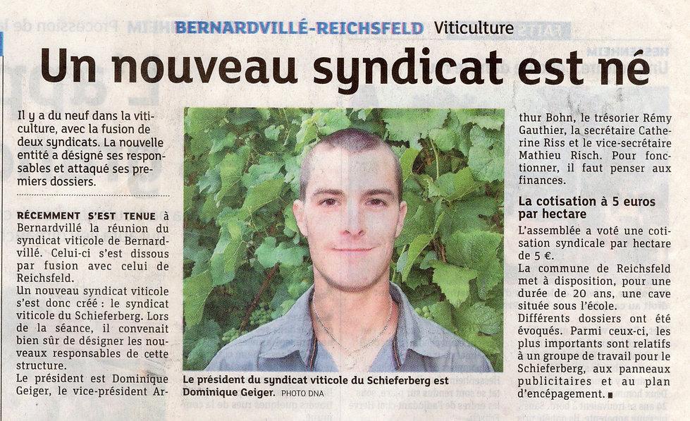 Nouveau syndicat viticole 2013 Bernardvi
