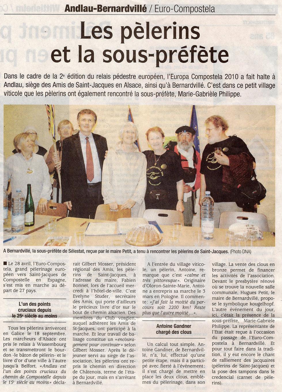 La sous préfète et les pélerins  2010 Be