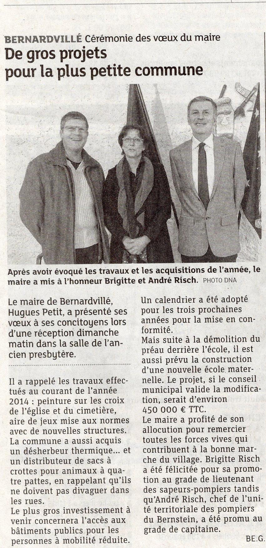 Des projets pour commune Bernardvillé (C