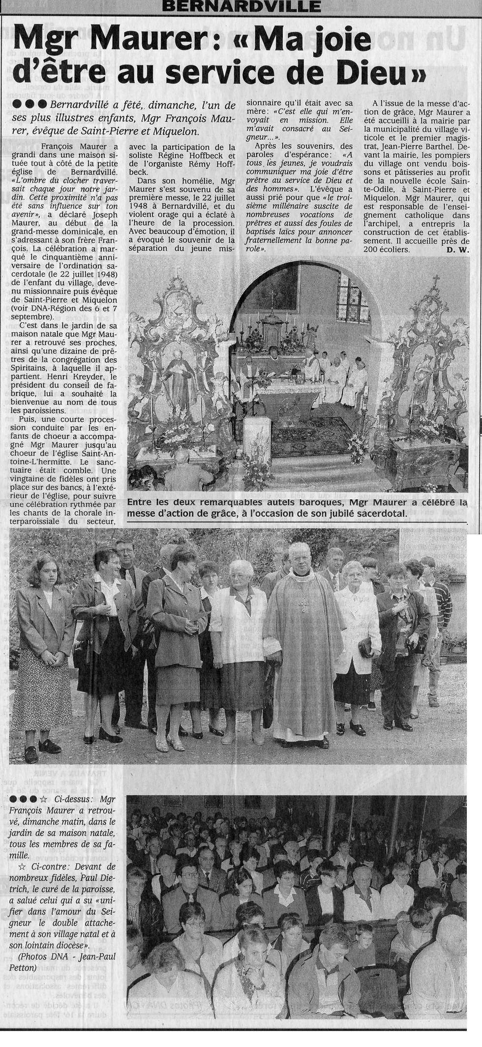 Jubilé Mgr Maurer François église st Ant