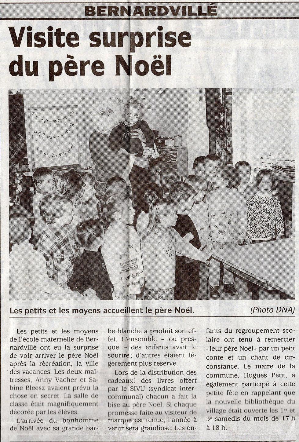 Visite surprise du père Noël 2002 Bernar