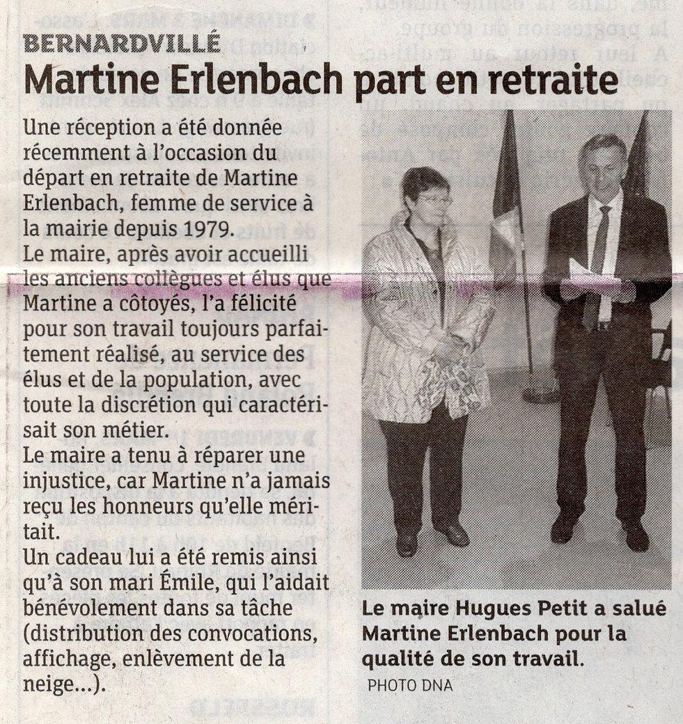 Martine Erlenbach part en  retraite 2013