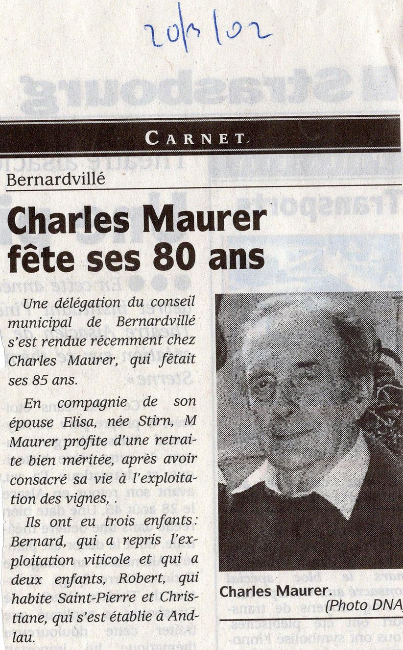 80 ans Charles MAURER 2002 Bernardvillé
