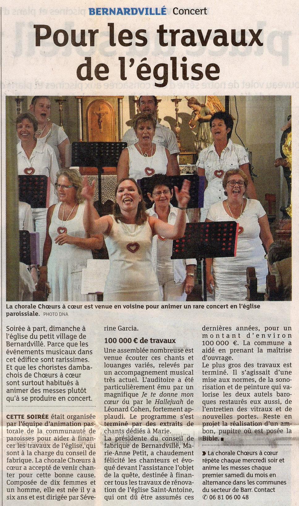Concert pour l'église 2013 Bernardvillé