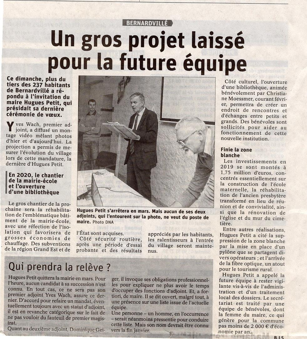 Hugues Petit jette l'éponge Bernardvillé