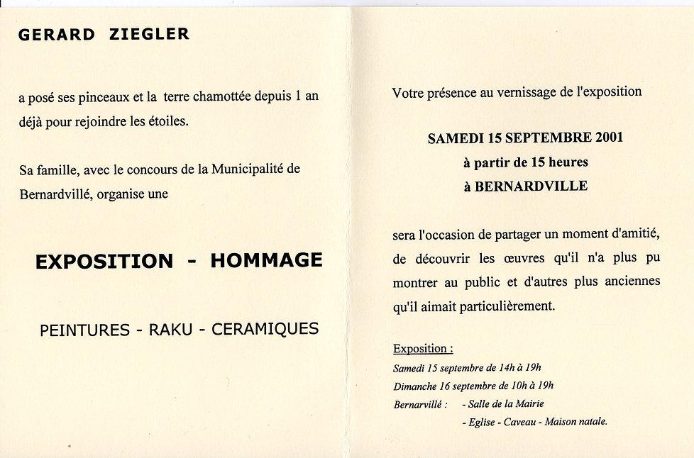 Invitation Exposition Gérard Ziegler Ber