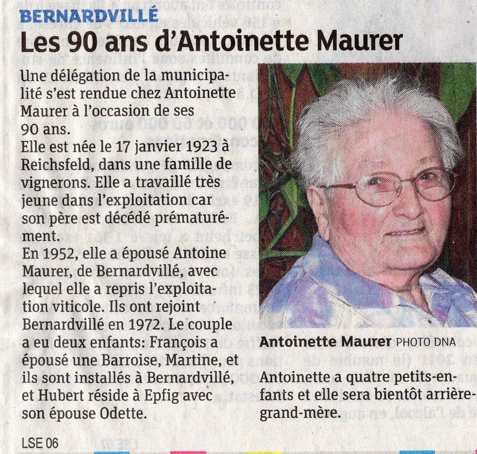 Antoinette MAURER a 90 ans Bernardvillé
