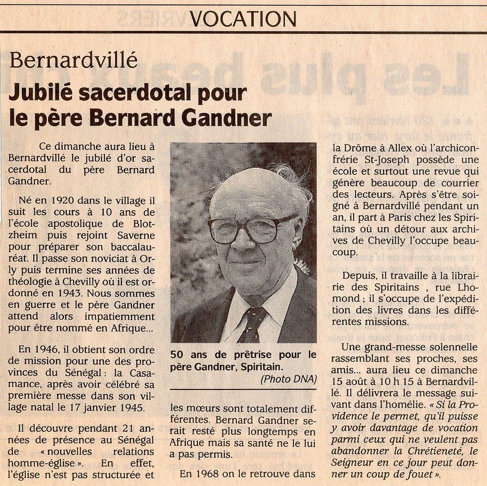 Jubilé sacerdotal pour le pere Bernard G