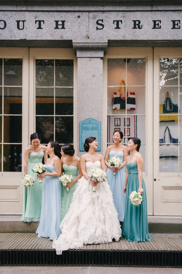 Dessy Bridesmaids Dresses Green Blue