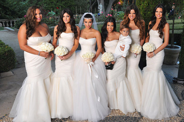 Kim Kardashian Wedding, White Bridesmaid dresses Trend 2015