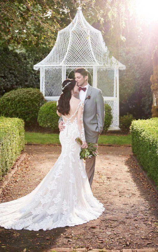 Low Back Long Sleeve Lace Wedding Dress