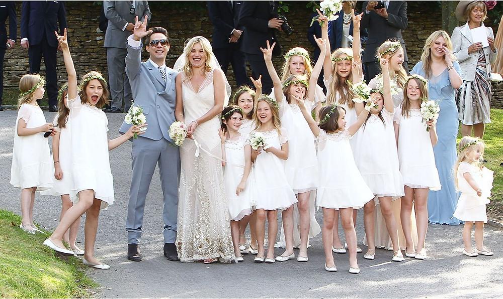 Kate Moss Wedding, White Bridesmaids Dress Trend 2015