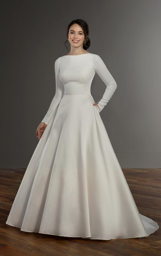 Modest Long Sleeve Ball Gown Dress