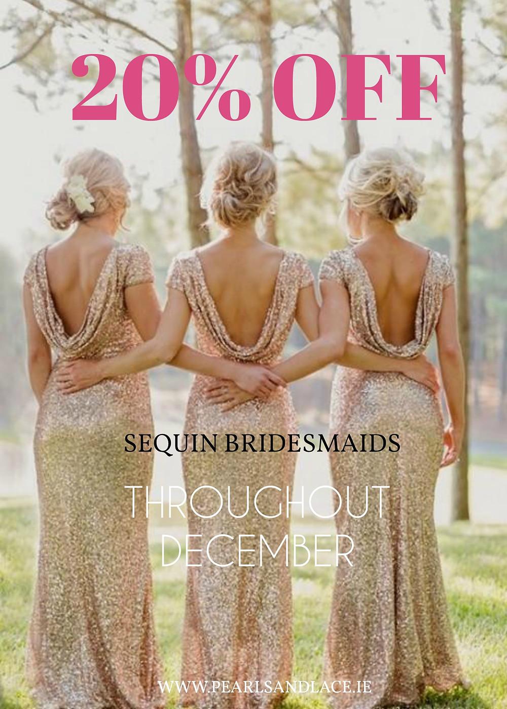 Gold sequin bridesmaids dresses sale