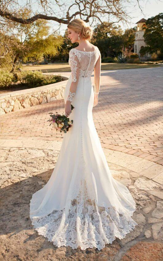 Long Sleeve Lace & Crepe Wedidng Dress