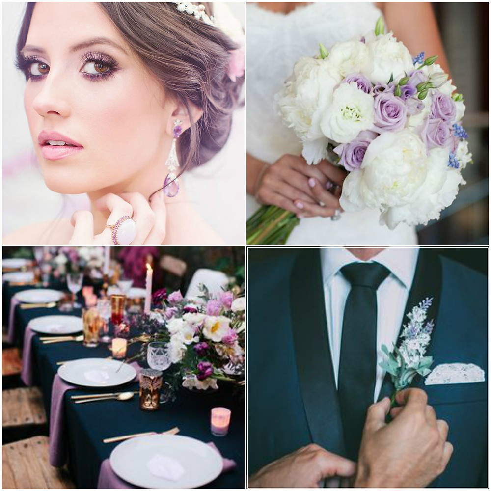 Martina Liana 734 Lavender and Navy Wedding Styling
