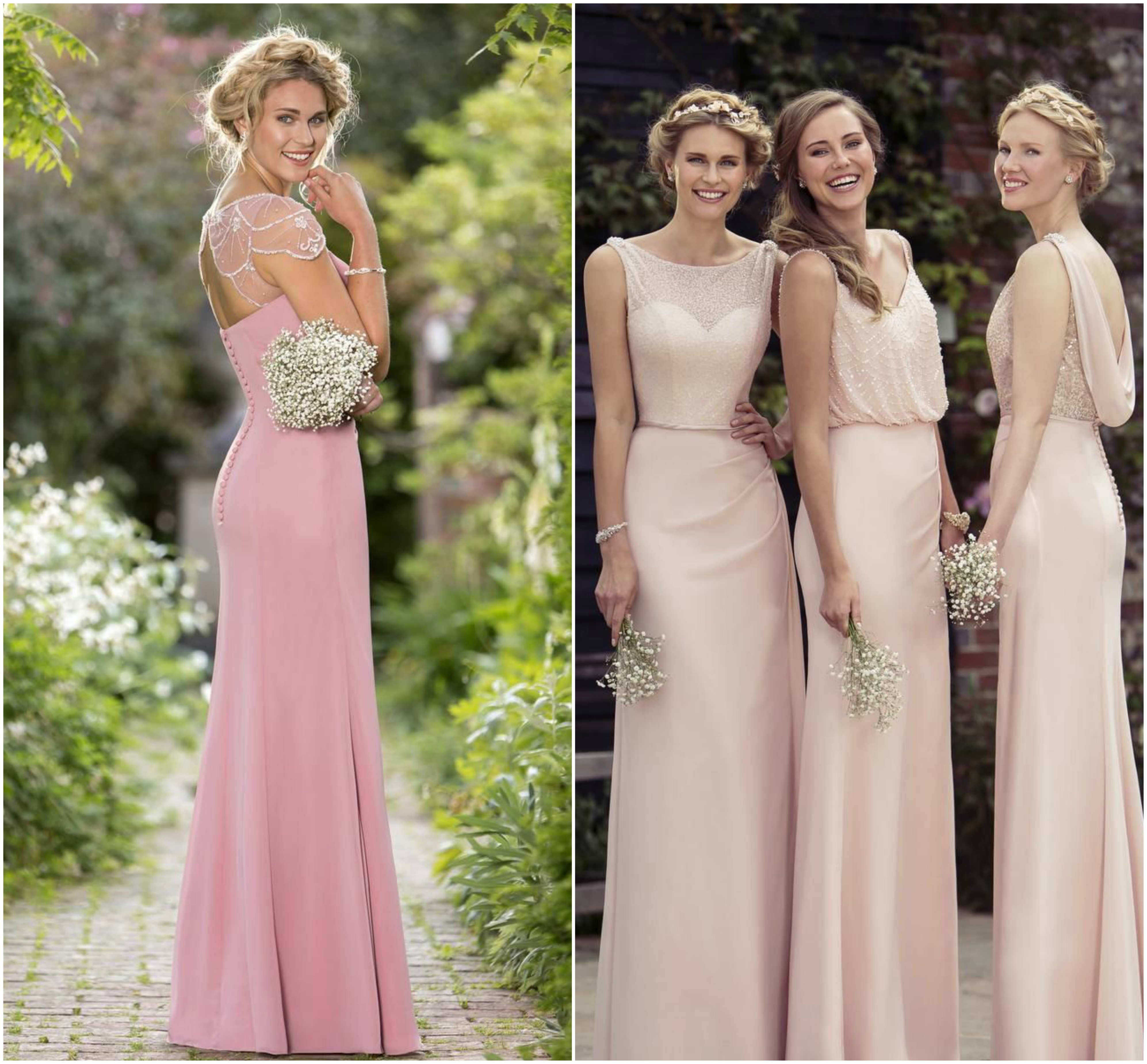 2018 Bridesmaids Trends Pearls And Lace Wedding Dresses