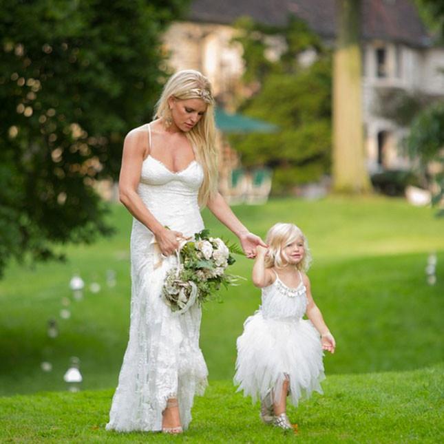 Ashlee Simson Wedding, White Bridesmaids Dress Trend 2015