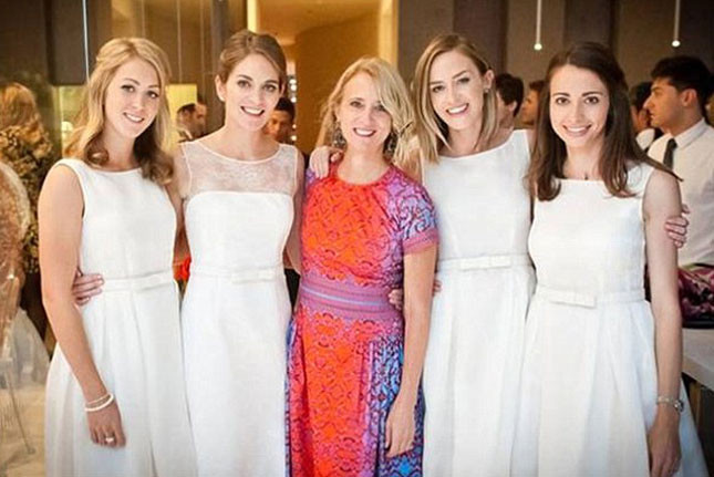 Emily Blunt Wedding, White Bridesmaids