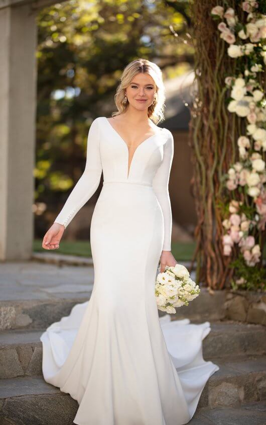 Simple Long Sleeve Wedding Dress