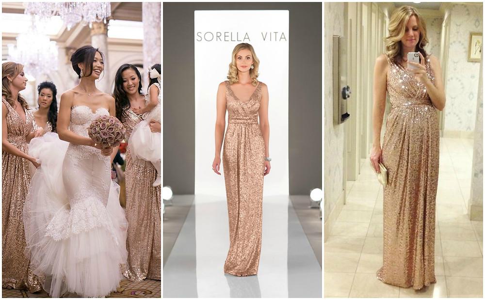 Rose gold sequin bridesmaids dresses ireland