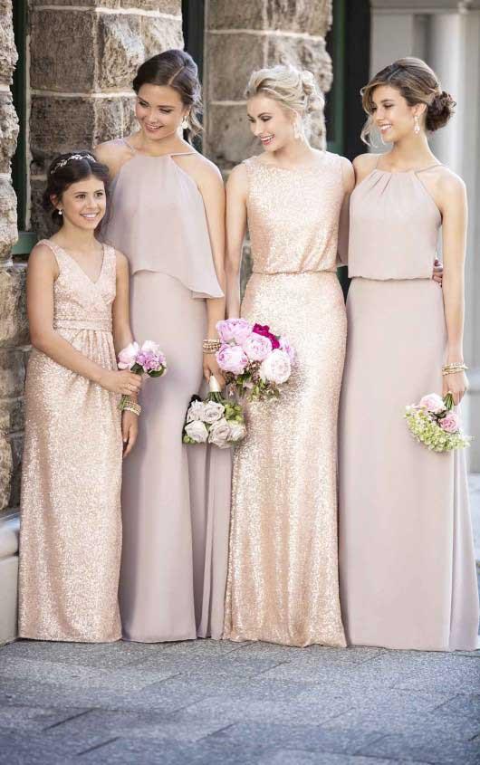 Gold Sequin Junior Bridesmaids Dress