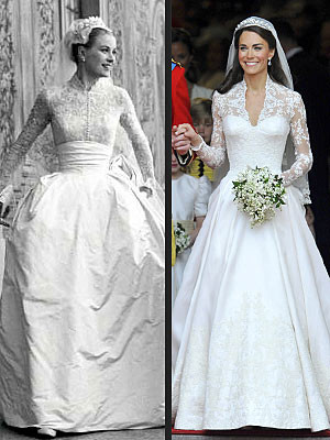 Grace Kelly, Kate Middleton Wedding Dresses