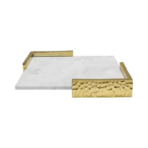 Alton Marble Decorative Tray, Brass