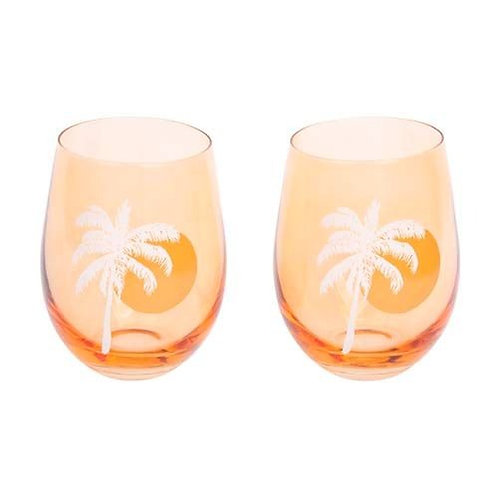 Cheers Stemless Glass Tumblers - Peachy Pink, Set of 2