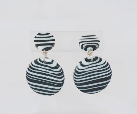 Black + White Disk on Stud Earring