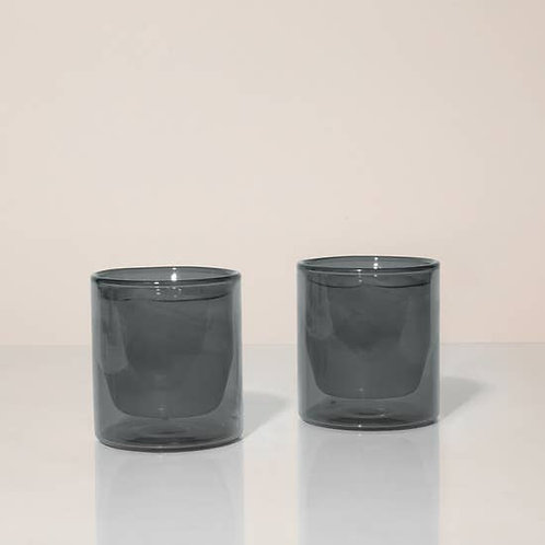 6 oz Double-Wall Gray Glass Set