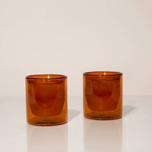 6 oz Double-Wall Amber Glass Set