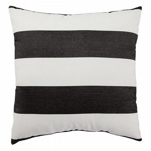 A wide stripe in a classic colorway, the graphic allure of this square pillow en