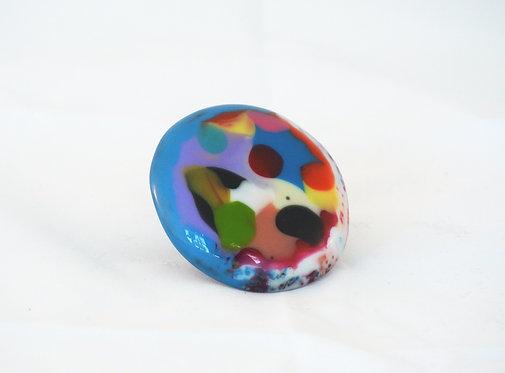 Multi-Color Dot Riverstone Ring