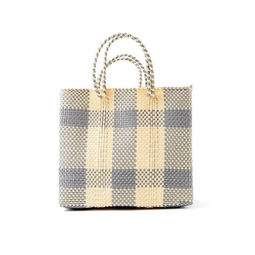 Silver + Cream Gingham Poolside Tote